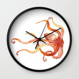 Watercolour Octopus - Red and Orange Wall Clock