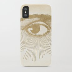 I See You. Vintage Gold Antique Paper iPhone X Slim Case
