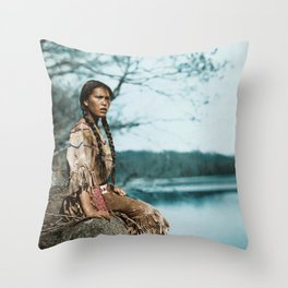 Ponemah by the Lake - Ojibwe Woman - American Indian Throw Pillow