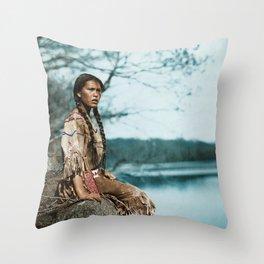 Ponemah by the Lake - Ojibwe Woman - American Indian Throw Pillow