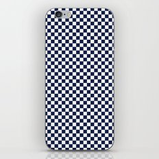 Indigo Navy Blue Checks iPhone Skin