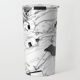 Monochrome Surrealistic Illustration:Hold Your Ankle in My Messy Bedroom Travel Mug