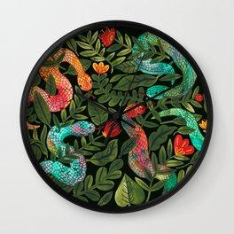 Dark Snakes and Folk Flowers Wall Clock