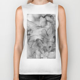 Black and White Marble Ink Abstract Painting Biker Tank