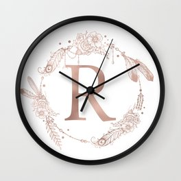 Letter R Rose Gold Pink Initial Monogram Wall Clock