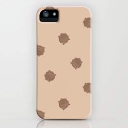 Round Bunny Pattern Brown Cream iPhone Case