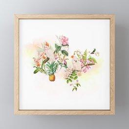Tropical Parrot Dream Yellow Framed Mini Art Print