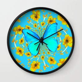 BLUE BUTTERFLY YELLOW AMARYLLIS PATTERNED ART Wall Clock