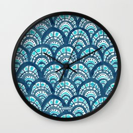JEWELED SCALES Mermaid Watercolor Wall Clock