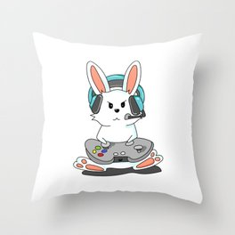 Gaming Bunny Gamer Rabit Headset Gamepad Gift Throw Pillow