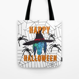 Witch Happy Halloween white Tote Bag