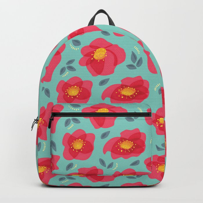 Pretty Flowers With Bright Pink Petals On Blue Backpack