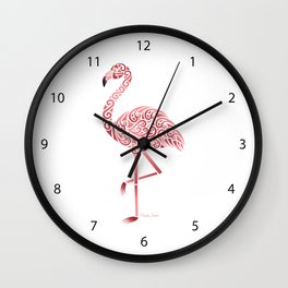Funky Tribal Flamingo Wall Clock