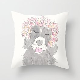 Black and White Dog Sweet with Flower Crown Throw Pillow