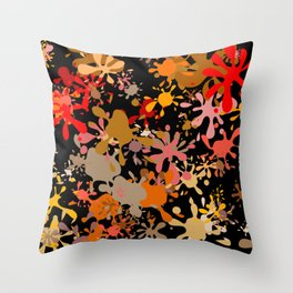 Fun Brown Paint Splats Throw Pillow