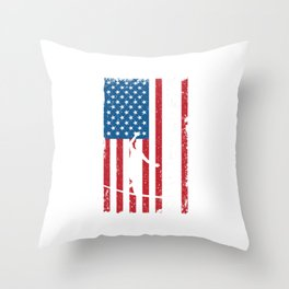 Slackline Slack Rope Walking Slackliners Slacklining American Flag USA Gift Throw Pillow