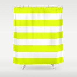 Lemon lime - solid color - white stripes pattern Shower Curtain