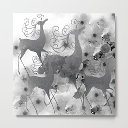 REINDEER AND FLOWERS in Black and White Metal Print