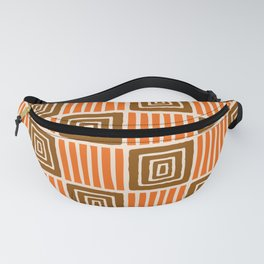 Retro Mid Century Modern Check Pattern 748 Orange and Brown Fanny Pack