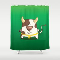 cow Shower Curtains featuring Cow by jebirvoki