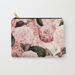 Vintage & Shabby Chic Pink Floral camellia flowers watercolor pattern Carry-All Pouch