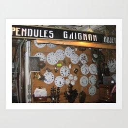 Clocks at Les Marchés aux Puces in Paris (2009) Art Print