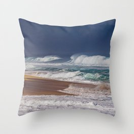 Stormy Sunset Beach Throw Pillow