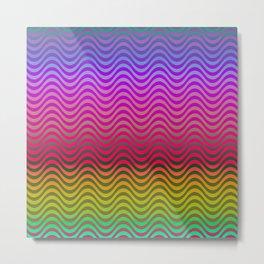 Rainbow Pride Waves Metal Print