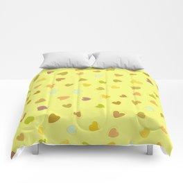 Love, Romance, Hearts - Yellow Green Brown Blue Comforters