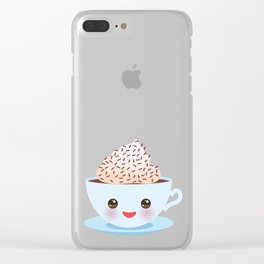 Cute blue pink green Kawai cup, coffee tea with pink cheeks and winking eyes, polka dot background Clear iPhone Case
