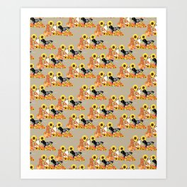 Coonhound Autumn Harvest Art Print
