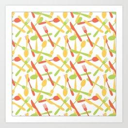 Cutlery silverware pattern Art Print