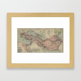 Map of Macedonion Empire Middle East Plan of Tyre from 332 BC Framed Art Print