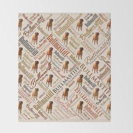 Bullmastiff Word Art Throw Blanket