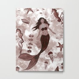 Under the Sea (Maroon) Part 1 Metal Print