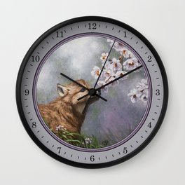 Wolf Pup and Spring Blossoms Wall Clock