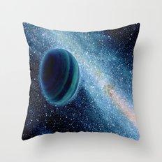 Teal Galaxy Planet Throw Pillow