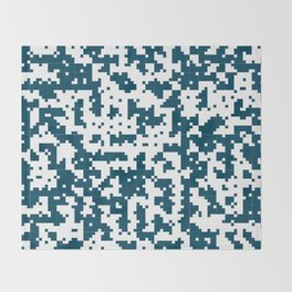 Small Pixel Big Pixel - Geometric Pattern in Dark Blue Throw Blanket