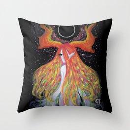 Black Moon Goddess Throw Pillow