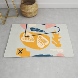 Colorful abstract leaves and shapes artwork  Rug