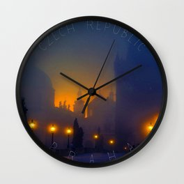 Prague, vintage poster Wall Clock