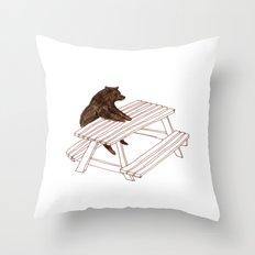 Picnic Bear Throw Pillow