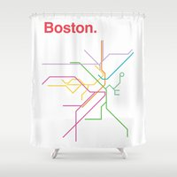 boston map Shower Curtains featuring Boston Transit Map by Ariel Wilson