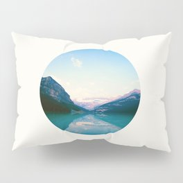 Mid Century Modern Round Circle Photo Graphic Design Turquoise Blue Reflective Mountain Range Pillow Sham