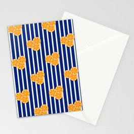 Orange Slices on Navy Blue Stripes Stationery Cards