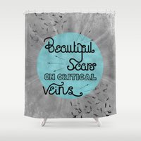 time low Shower Curtains featuring All Time Low - Kids in the dark by Sidrah  Mahmood