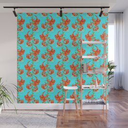 Tiger Lilies (Light Blue Background) Wall Mural