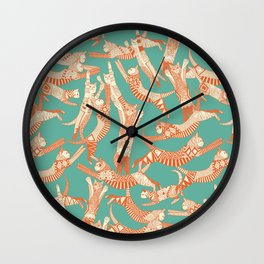 cat party jade orange Wall Clock