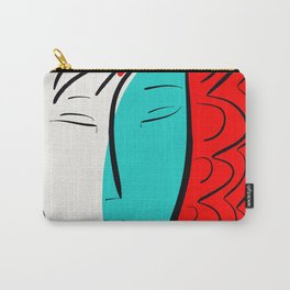 Turquoise Pop Girl with red hair Graphic Minimal art Carry-All Pouch