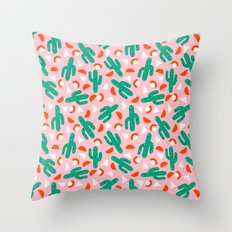 Red Hot - cactus southwest desert palm springs retro neon throwback 1980s style minimal plants Throw Pillow